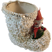 Christmas Candy Container Santa Boot with Chenille Santa Spun Cotton Head and Holding a Bottle Brush Tree