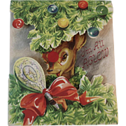 Mechanical Rudolph Christmas Card by Hit Parade of Humorous Greetings Red Nosed Reindeer