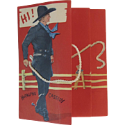 Hopalong Cassidy Buzza Cardozo Birthday Card 1950s Vintage Fold Out with Lasso