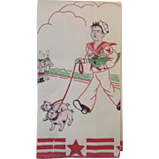 WWII US Navy Linen Tea or Bar Towel U.S.N. Two Ocean Fleet Sailor with Bulldogs Walking Past Japanese