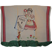 Embroidered Linen Tea Towel Food & Budget Lady with Apple and Duck Ruffled Edge Vintage Kitchen