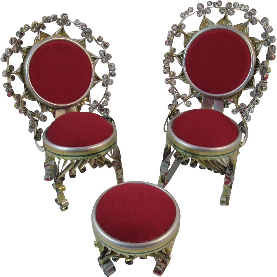 Victorian style chair - Mid Century Folk Art Tin Can Curling Victorian Style Miniature Chairs And Ottoman Rocking Chair Great For Dollhouse Or Pin Cushions