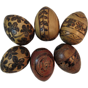 6 Carved Wood Eggs with Pyrography Decoration Vintage Folk Art