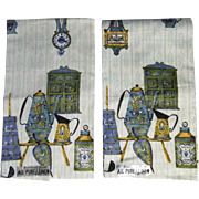Pair Parisian Prints Linen Tea Towels with Colonial Kitchen Decoration Unused with Original Labels
