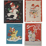4 1950s Snowman Christmas Greeting Cards Snowmen Made in USA 2 are Pop Ups