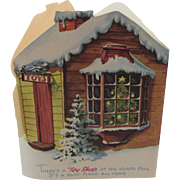 Stand Up Santa's Toy Shop at the North Pole Christmas Card