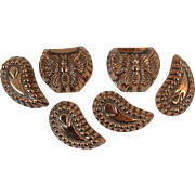 6 Copper Candy Molds Butterfly and Crescent Shapes