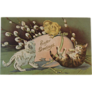1908 Embossed Easter Postcard with Kitty Cats, Chick, Egg and Pussywillows German Germany