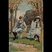 1907 Edwardian Valentine Postcard with Glitter
