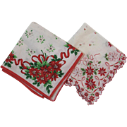 2 Vintage Christmas Poinsettia Hankies Hanky Handkerchief One with Scalloped Edges