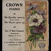 1911 Crown Piano Pocket Calendar Embossed Printed in Germany German Litho Advertising
