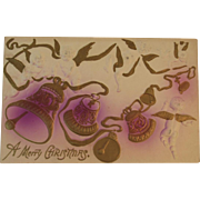Cherubs and Bells Christmas Postcard Heavily Embossed with Air Brushed Color