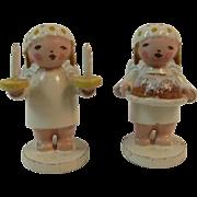 East German Miniature Wood Angel Christmas Feather Tree Ornaments Erzgebirge Germany