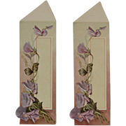 2 Victorian Die Cut Bookmarks or Tags with Purple Lilies Book Mark Lily Diecut