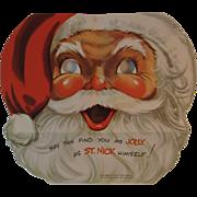 1950s Santa Mask Christmas Card Little Boy Peeks Through Keyhole