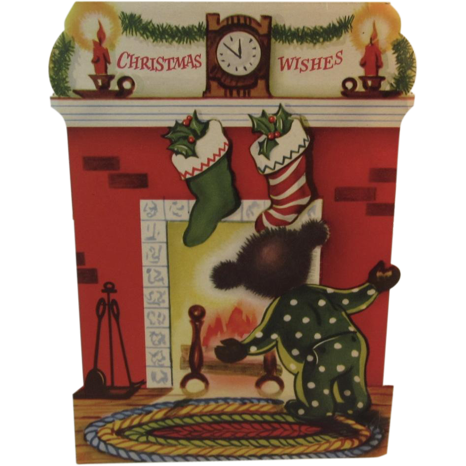 1950s christmas bear stand up greeting card stockings hung by the