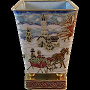 Enameled Christmas Vase With Gold Decoration