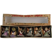 Set of 6 Novelty Angel Ornament in Original Box Chenille, Spun Cotton, Foil and Mesh