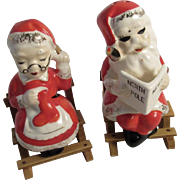 Santa and Mrs. Claus Salt and Pepper Shakers with Wooden Rocking Chairs Vintage Japan Christmas