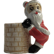 Santa Climbing into the Chimney Toothpick Holder Vintage Christmas Japan Bisque
