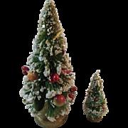 2 Flocked Fruit & Pinecone Bottle Brush Trees Vintage Japan Christmas