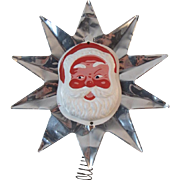 Santa on Foil Star Tree Topper that Can Light Up Vintage Christmas