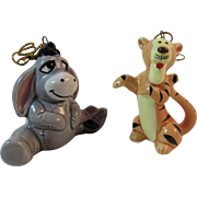 Disney Eeyore and Tigger Christmas Ornaments Japan Porcelain Vintage Christmas Winnie the Pooh Characters
