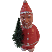 Breba Germany Santa Nodder with Bottle Brush Tree Bobblehead Vintage Christmas Jolly Elf