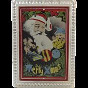 Lenticular Flickering Santa and Elf Picture in Frame Vintage Christmas Lamac Photo Move Inc Flicker