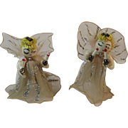 2 Christmas Angel Ornaments with Chenille, Netting, Glitter and Spun Cotton Heads