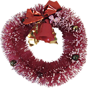 Mini Red Bottle Brush Wreath Flocked with Bell Foil Bow and Leaves and Mercury Glass beads