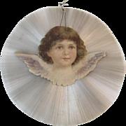 Victorian Radial Spun Glass Ornament with Die Cut Angel Scrap Diecut