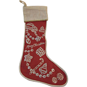 Red Flannel Christmas Stocking With Silver Glitter Vintage