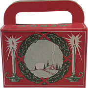 Vintage Christmas Candy Container Box with Winter Scene and Candles Cardboard