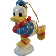 Donald Duck Ice Skating Ceramic Christmas Ornament Vintage Japan Skates Skater