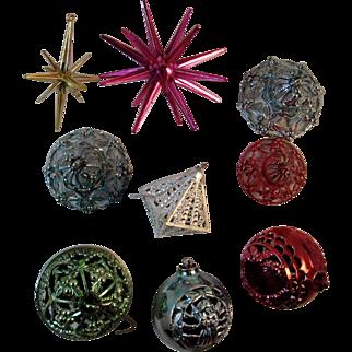 9 Hard Plastic Ornaments Sputnik Stars and Reticulated Bells, Balls and Diamond Atomic Age Mid Century Vintage Christmas