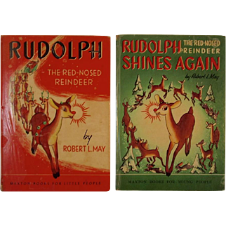 1939 & 1954 Rudolph The Red-Nosed Reindeer Books by Robert May Shines Again Maxton Books Illustrated by Marion Guild