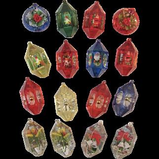 16 JewelBrite Diorama Christmas Ornaments Santas Gnomes Fruit Flowers Poinsettias Bells Holly Snowman 3D