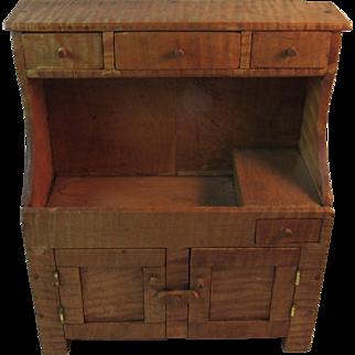 Tiger Maple Child's Dry Sink Hutch Miniature Furniture Hand Made Folk Art