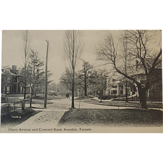 Real Photo Postcard Circa 1900's Cluny Avenue and Crescent Road. Rosedale, Toronto Canada
