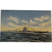 Official U.S. Navy Photograph Postcard of the Submarine USS Dolphin