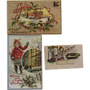 2 Tuck Embossed Christmas Postcards and 1 Christmas Greeting Card