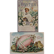 Two Embossed Easter Postcards circa 1900s