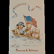 Bicentennial 1776-1976 Postcard Rose O'Neill Kewpie Art Adapted by Artist Florence Baker