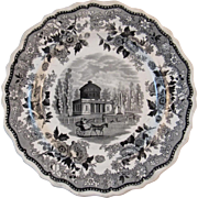 1830 Philadelphia Water Works Jacksons Warranted Black Staffordshire Historical American Views Plate Transferware Transfer Ware