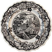 1820s Black Clews Staffordshire Historical Plate Near Fishkill Picturesque Views of the Hudson River American Themes Transferware Transfer Ware