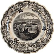 1820s Black Clews Staffordshire Historical Plate Troy From Mount Ida Picturesque Views of the Hudson River American Themes Transferware Transfer Ware