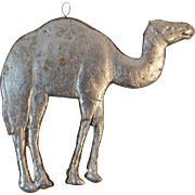 Dresden Camel Ornament Embossed Silver Foil on Pressed Cardboard for Feather Tree