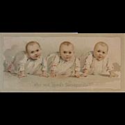 Hood's Sarsaparilla Triplets Babies Victorian Trade Card Advertising Quackery Cure All Baby