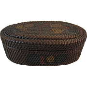 Hand Painted Rattan Sewing Basket Oval Shape Satin Lined